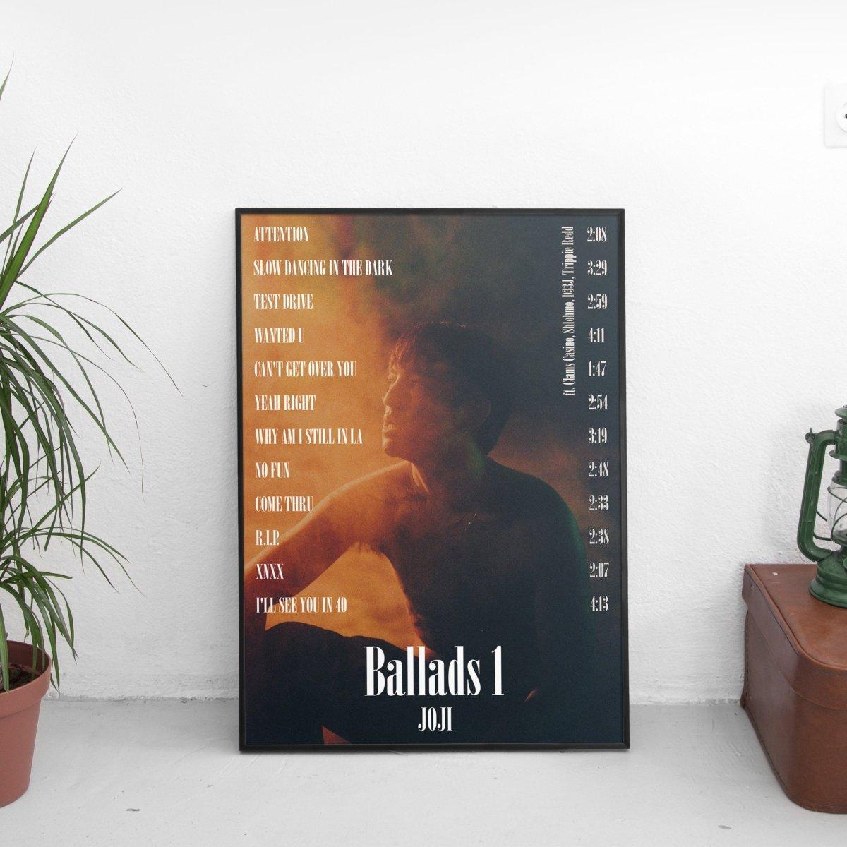 Joji - Ballads 1 Tracklist Poster
