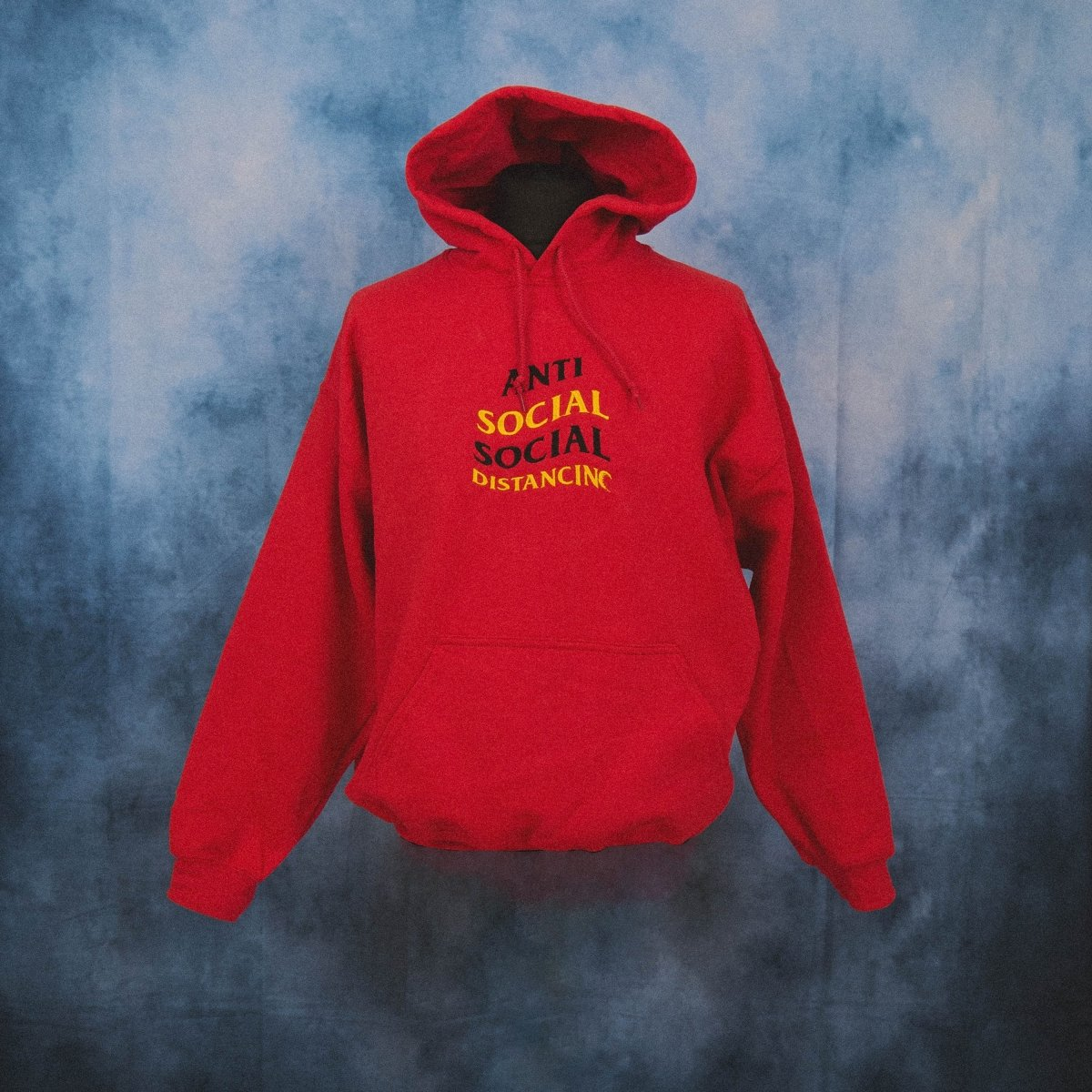 'Anti Social Social Distancing' Red Unisex Embroidered Hoodie