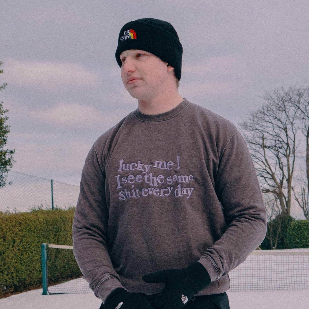 Lucky Me, I See The Same S**t... Unisex Washed Grey Embroidered Sweater
