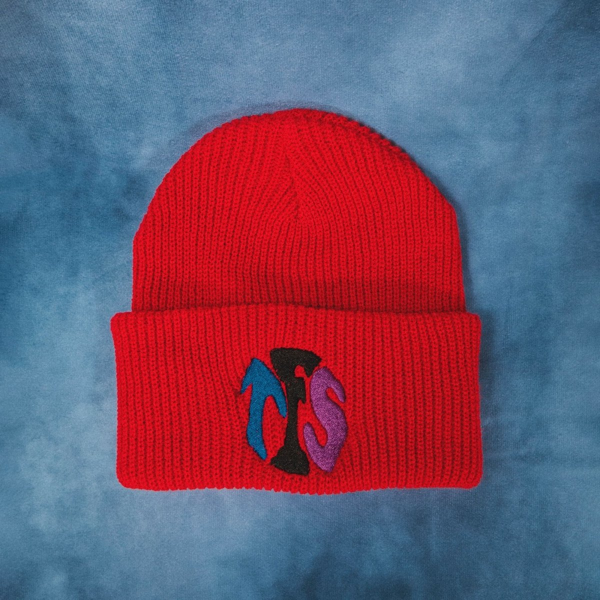 TFS Squish Embroidered Red Beanie