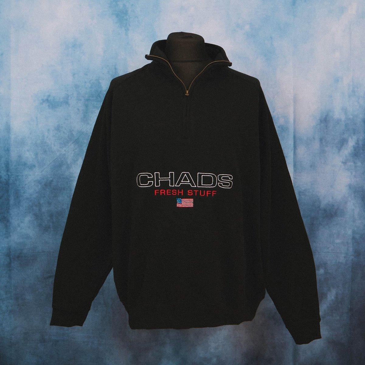 Chads Black Unisex Embroidered 1/4 Zip Sweater
