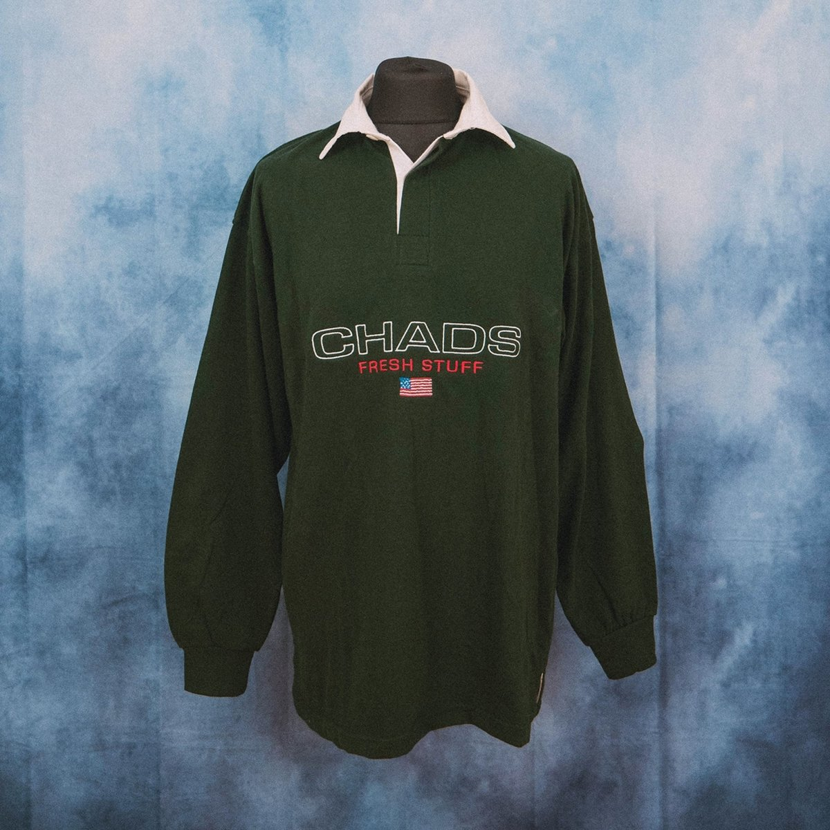 Chads Unisex Embroidered Green Rugby Shirt