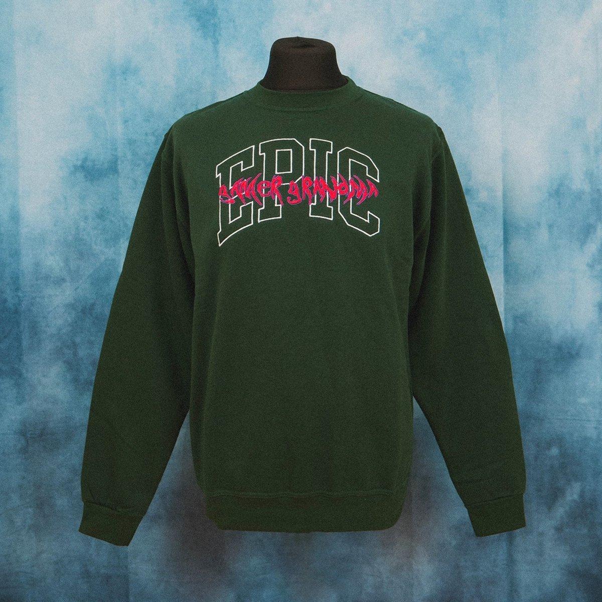 Epic Gamer Grandma - College Dark Green Unisex Embroidered Sweater