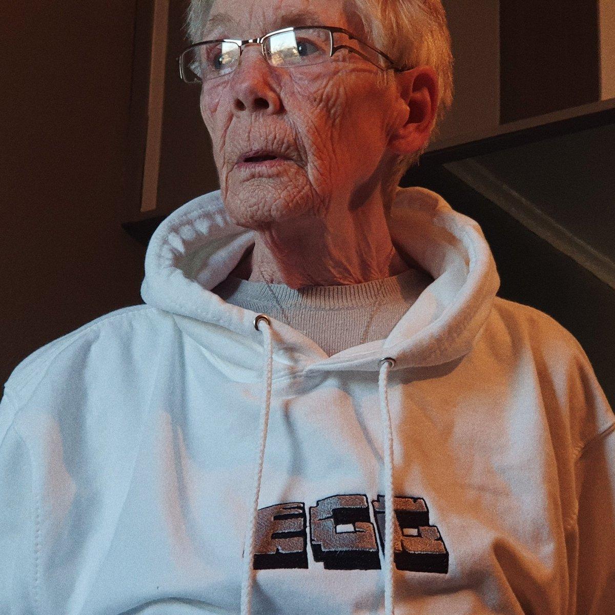 Epic Gamer Grandma - Minecraft EGG White Embroidered Hoodie
