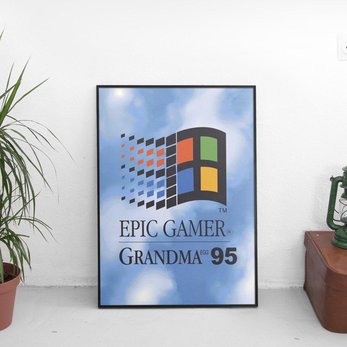 Epic Gamer Grandma - Retro Computer Logo Poster