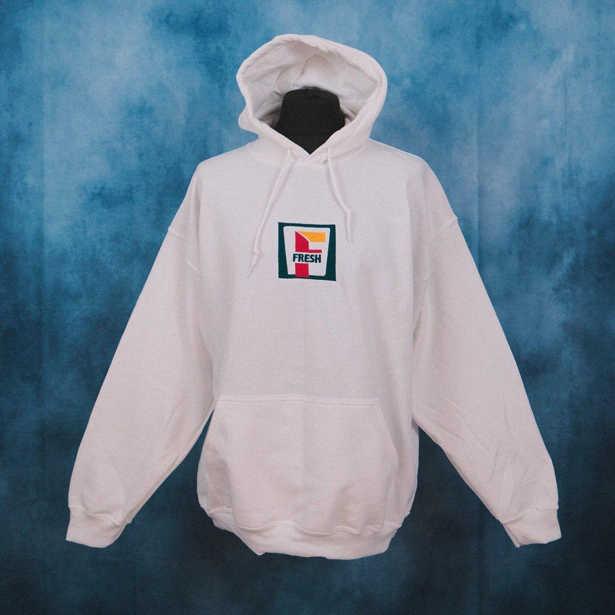 Fresh Eleven White Unisex Embroidered Hoodie
