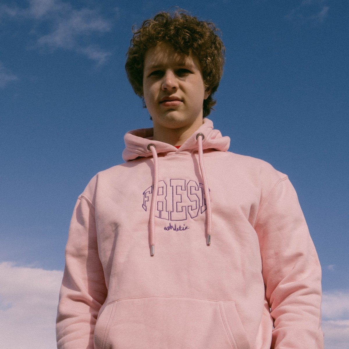 Fresh Athletic Light Pink Unisex Embroidered Heavy Hoodie